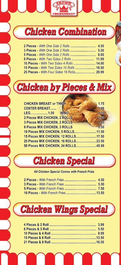 Menu - Crown Fried Chicken Lindenwold